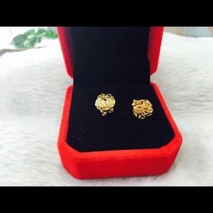 18K Real Gold Stud Earrings